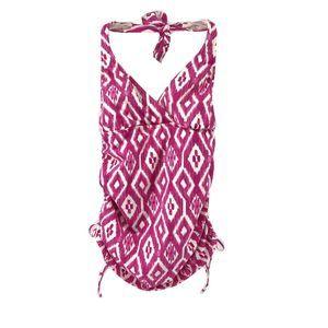 Lands End Ikat Pink & White Tankini Top Size 6
